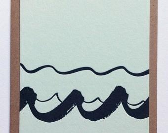 WAVES IV / letterpress postcard handmade in Bordeaux