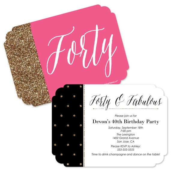 Chic 40th birthday pink black and gold invitations il570xn filmwisefo