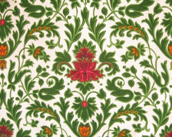 FRENCH 60s CURTAINS / Romanex de Boussac / One pair / Mid Century / Retro / 60s / Voltaire designed by Laurent Steve / Green / Floral