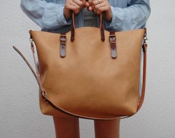 Leather bag , caramel brown color