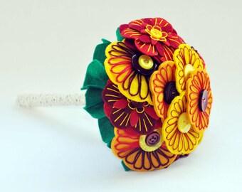 Autumn colours bridesmaid bouquet / Felt button bouquet /  everlasting flowers / autumn wedding / hand embroidered wedding flowers