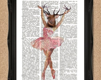 Ballerina Stag Head Print Dictionary Page 8x10 inch A031