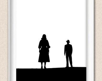 Film Noir Print Romantic Silhouette Print - Man and Woman Standing Custom colour A035
