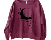 Moon Dreamer Graphic Printed on Women's American Apparel long sleeve pullover