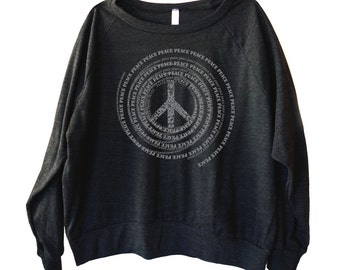 Peace Swirl Graphic printed on Women's American Apparel long sleeve pullover