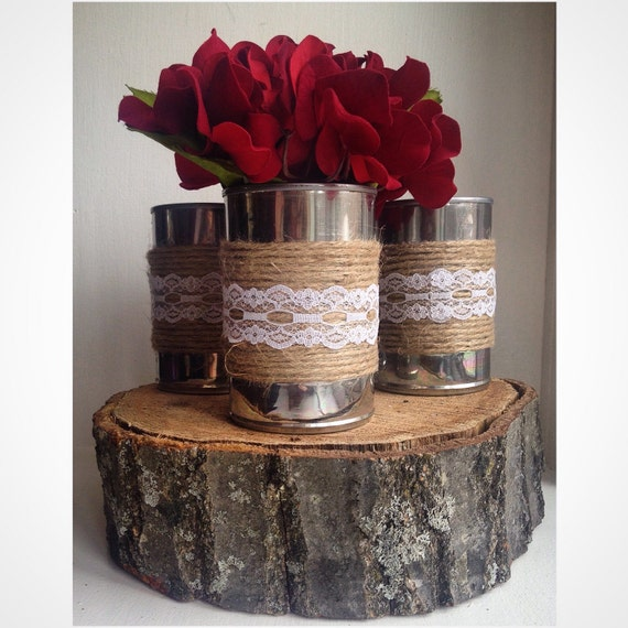 Shabby Chic Wedding Decoration Ideas: Set Of 3 Shabby Chic Tin Can Centerpiece By ReconditionaILove