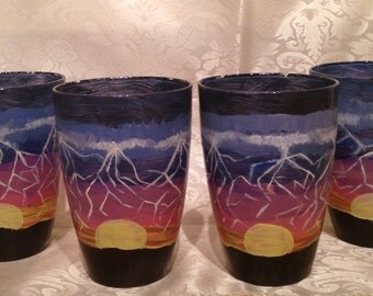 Hand painted southwestern storm tumblers~ southwester glassware~ southwester tumblers~ southwester glasses~ stormy night tumblers