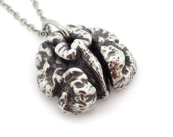 Walnut Necklace, Handmade Nature Jewelry Nut Lover Pendant Vegan Charm