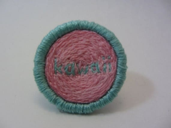 KAWAII Hand Embroidered Merit Badge-Style Patch