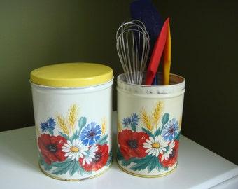 Vintage Tin Kitchen Canisters - Set of 2 - Farmhouse Kitchen