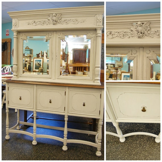 FREE SHIP 1800s White Antique German Dining Buffet Sideboard