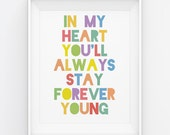 Forever Young Rod Stewart Baby Nursery Child Decor Art 8x10 Poster Print