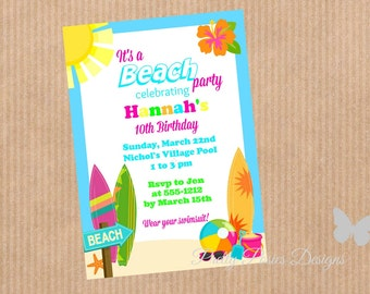 Beach Party--Surf Party--Invitation--Customized--DIY PRINTABLE