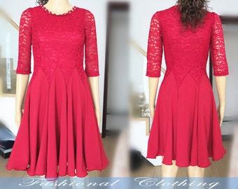 apricot claret-red slim lace chiffon dress spring summer dress women clothing women dress half sleeve dress girl dress