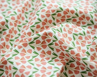 "Lovely Flower Pattern Cotton Fabric by Yard ""Sonia"""