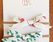 Watermelon & Cactus set of comfy headbands OR hair clips