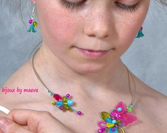 fancy necklace jewelry small girl fuchsia green and turquoise butterfly