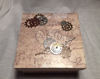 Hand Decorated Gift Box-Map & Gear- 5 in.