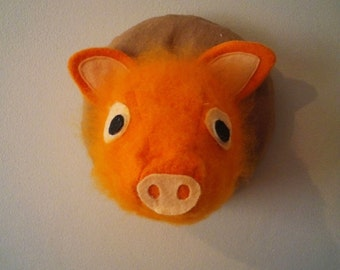 Handmade Alice in Wonderland Hairy Pig Feltsidermy Faux Taxidermy head, vegan.