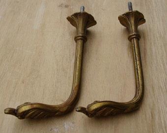 Antique French Ormolu Drapery Tiebacks  Wall Hooks.  Hardware