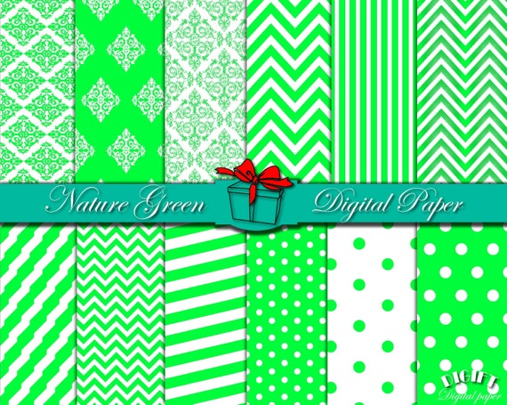 Grass Green digital paper Nature Green print Green damask Green chevron Green party decor Green wall art Green paper Green Grass clip art