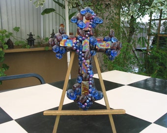 Gorgeous Hand Crafted Wood Cross Accented With Iridescent Tiles And Finished With Faux Gems