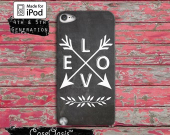 Love Quote Arrows Branch Leaves Tumblr Inspired Cute Case iPod Touch 4th Generation or iPod Touch 5th Generation and iPod Touch 6th Gen Rubb