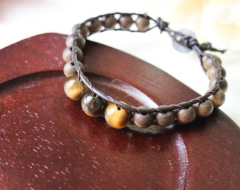 Wooden Beads and Tiger's Eye Leather Single Wrap Bracelet