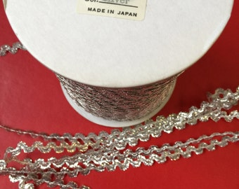 Vintage Silver Breaded Metallic Cord - 288 yards. Made in Japan.