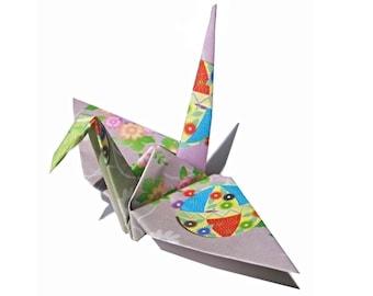 Japanese Print Folded Paper Crane (1) Origami Crane
