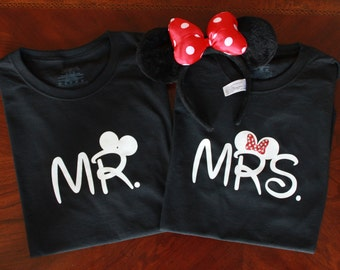 Mr and Mrs Disney Inspired Mickey Minnie Newlywed Shirts Disney Cruise Honeymoon Shirts- Listing is for TWO SHIRTS