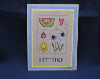 Sampler Birthday Card - Blue