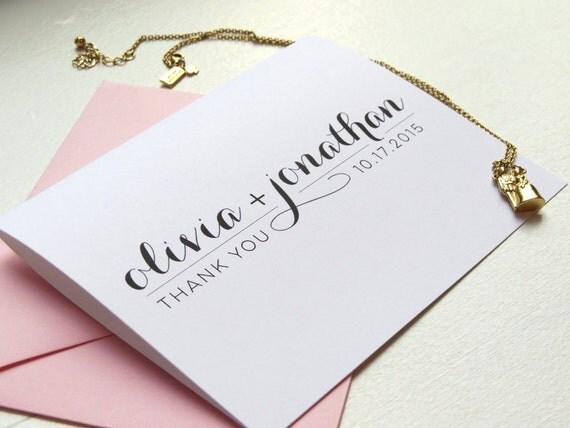 custom color newlywed wedding thank you cards bridal shower wedding