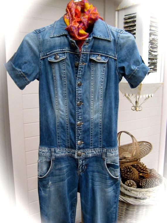 Vintage GUESS Jeans Denim Jumpsuit Short Sleeve Jumpsuit