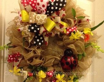burlap lady bug wreath