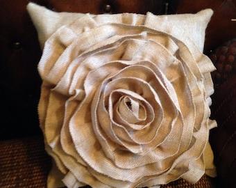 Burlap Flower pillow 16x16