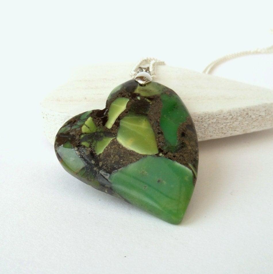Sterling Silver Jewelry Necklace w/ Large Green Jasper ...  |Green Jasper Jewelry