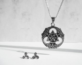 Celtic Jewelry Set, 925 Sterling Silver Set Necklace Earring, Tri Knot Celtic Jewelry, Oxidized Pendant Earrings, Unique Jewelry, Atigga