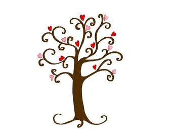 BUY 2, GET 1 FREE - Heart Tree, Tree of Life Machine Embroidery Design, Wedding, Bridal Shower, Valentine's Day in 3 Sizes