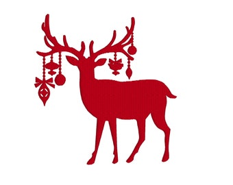 BUY 2, GET 1 FREE - Christmas Reindeer with Ornaments Silhouette Machine Embroidery Design in 3 Sizes - 4x4, 5x7, 6x10