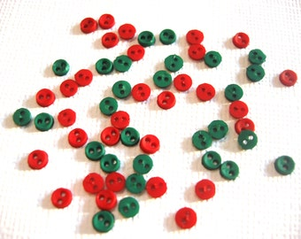 """3MM Micro Mini Round Buttons Jesse James Buttons Dress It Up Buttons 1/8"""" Diameter Tiny Two Hole Sew Thru CHRISTMAS Red Green - FLR"""
