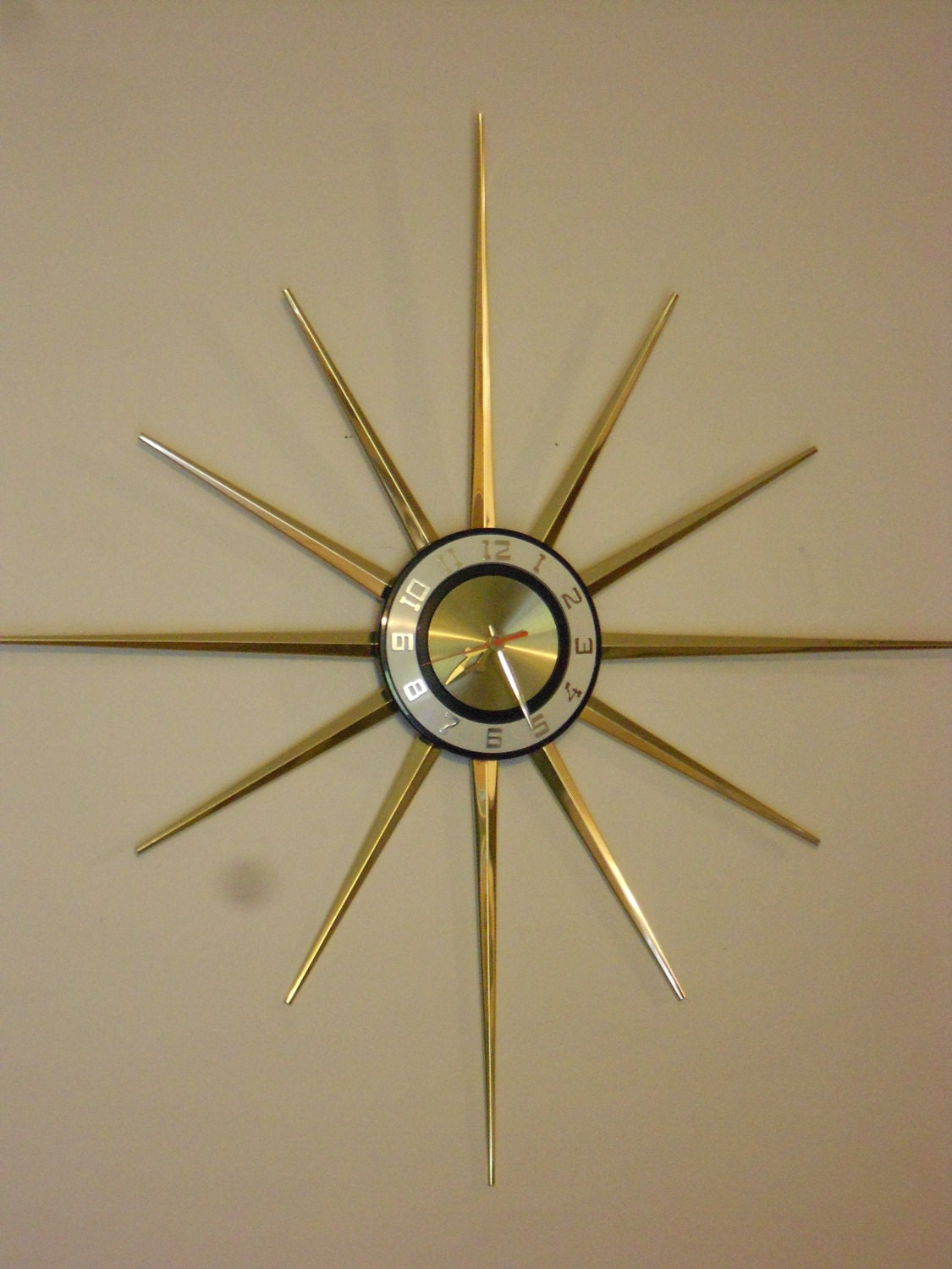 Mid Century Modern Starburst Clock Huge Atomic Wall Clock