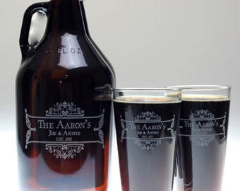 Wedding gift  with Irish Celtic Knot banner art Set of 2 Home Brew glasses and 1 growler.  glass, Beer Glass