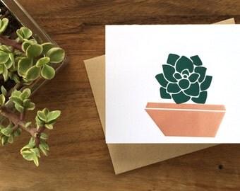 Letterpress Succulent Greeting Card - Blank Inside (Set of 6)