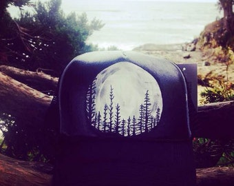 hand Painted Moon Tree Trucker Hat