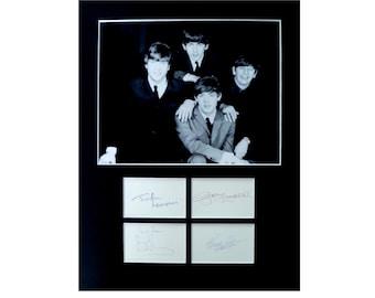 THE BEATLES AUTOGRAPH photo display Paul McCartney John Lennon George Harrison Ringo Starr