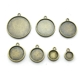 16mm Round Pendant Tray, Bezel Setting, 16mm  Cabochon Tray - Antique Bronze,Antique Silver,Double Same Side