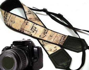 Music camera strap. Vintage notes Camera strap. DSLR / SLR Camera Strap. Camera accessories by InTePro