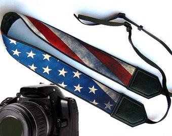 US flag camera strap. Vintage camera strap. DSLR / SLR Camera Strap. Camera accessories. Nikon  Canon Fuji Sony and other camera strap.