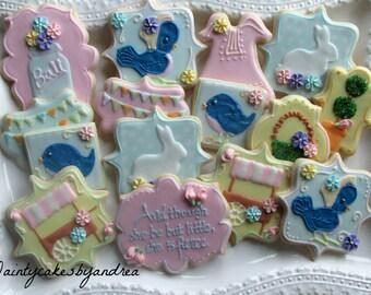 1 dozen vintage inspired decorated sugar cookies!